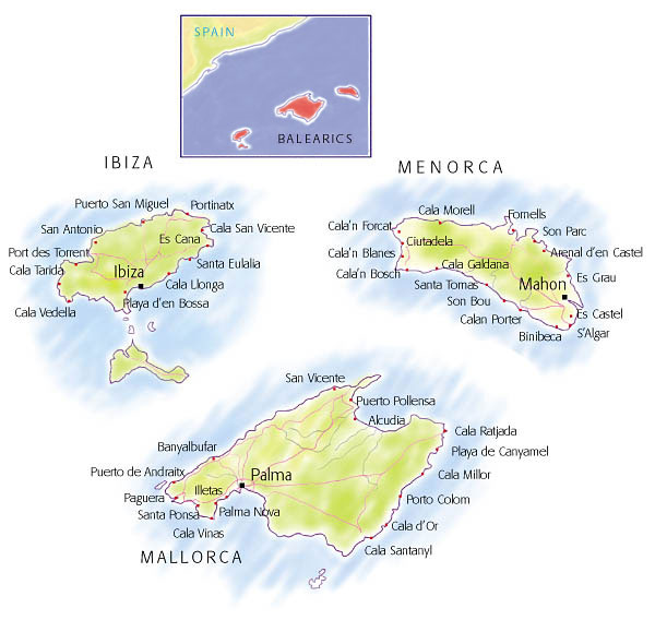 Villas in the Balearic Islands map and search
