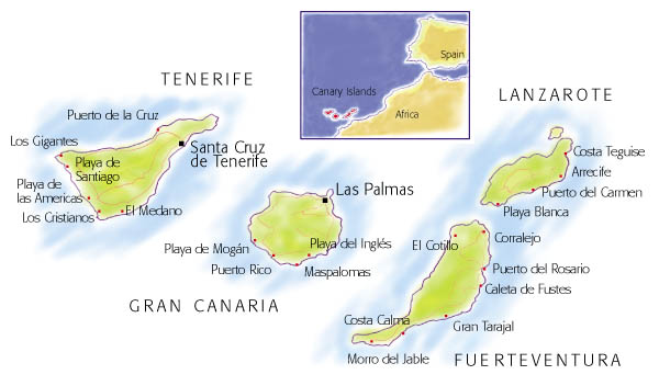 Villas in the Canary Islands: map and search on